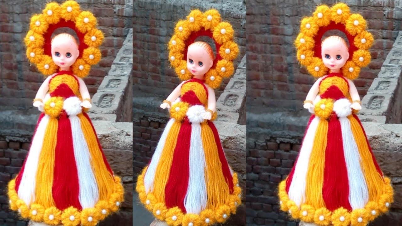 How to a doll decorate using woolen. woolen se doll ki dress banana