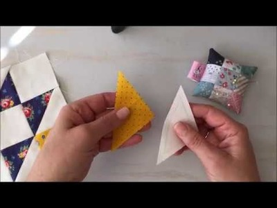 How to Hand Piece a Half Square Triangle Block
