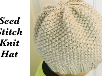How to knit easy tam | slouchy style hat for women | adult w. knit seed stitch -Knitting for Baby #4
