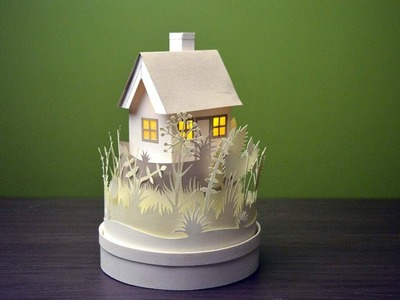 How to make a mini paper house with light | best paper cutting craft