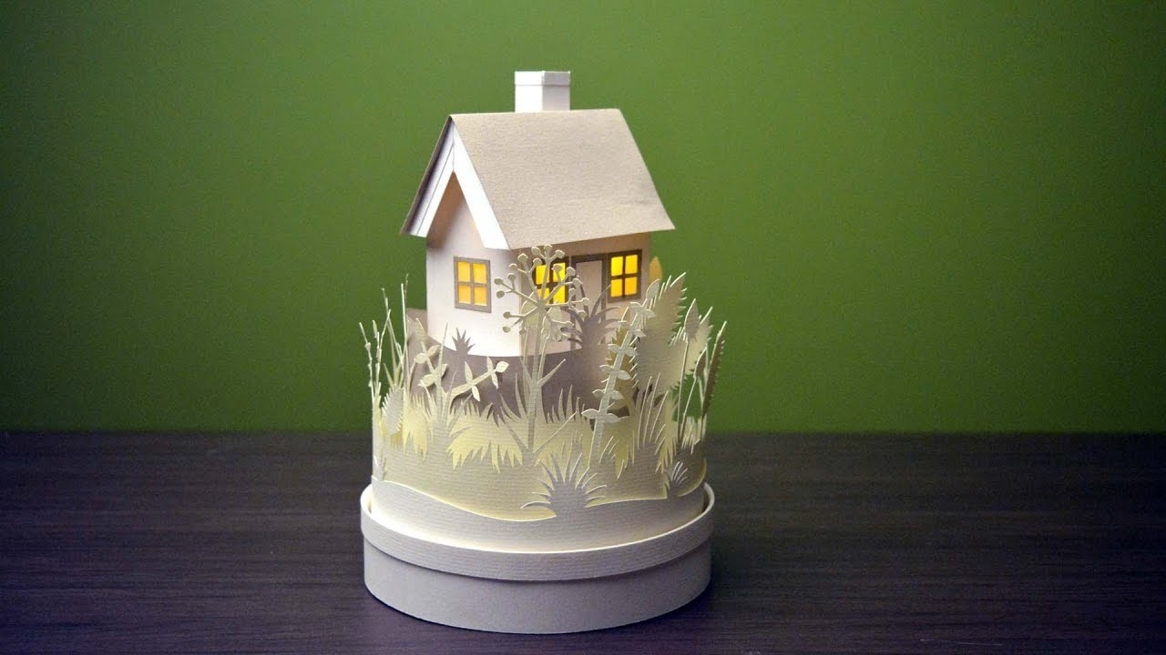 How to make a mini paper house with light   best paper cutting craft