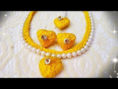 HOW TO MAKE HALDI CEREMONY NECKLACE USING COTTON THREAD PEARL AND FEVICOL | BEAUTIFUL HANDMADE NECKL