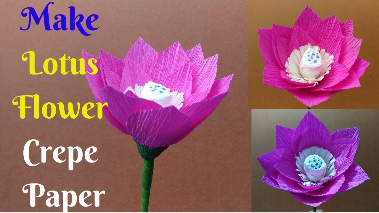 How To Make Lotus Flower With Crepe Paper Easy | Lotus Flower Paper Craft | Home Diy Crafts Paper