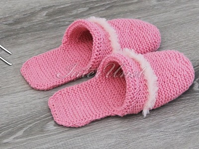 Learn how to knit slippers - women's slippers knitting pattern tutorial.
