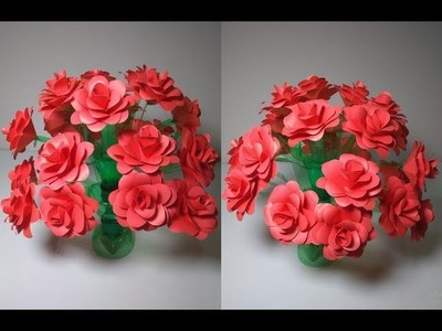 Art & Craft,How to Make Paper Rose Flower|Flower vase With Plastic Bottler|Paper Craft Idea at home