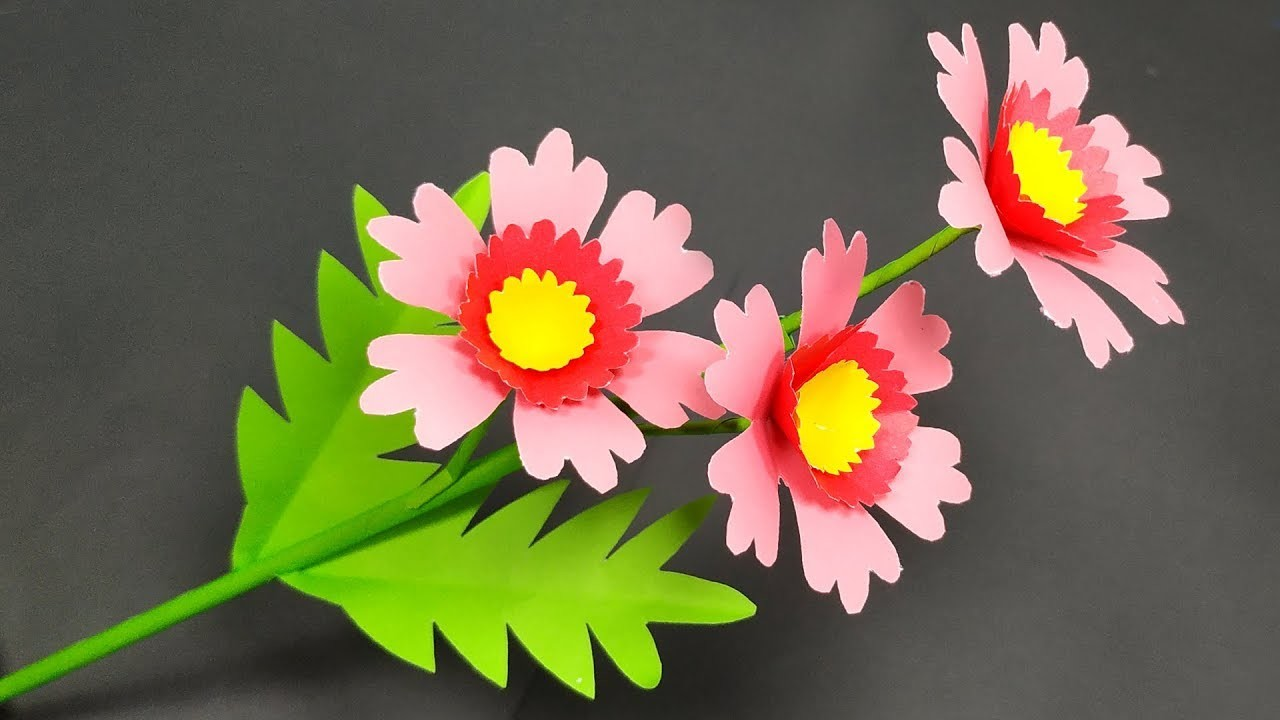 Craft Idea: How to Make Stick Flower Idea with Paper | Flower with Paper | Jarine's Crafty Creation