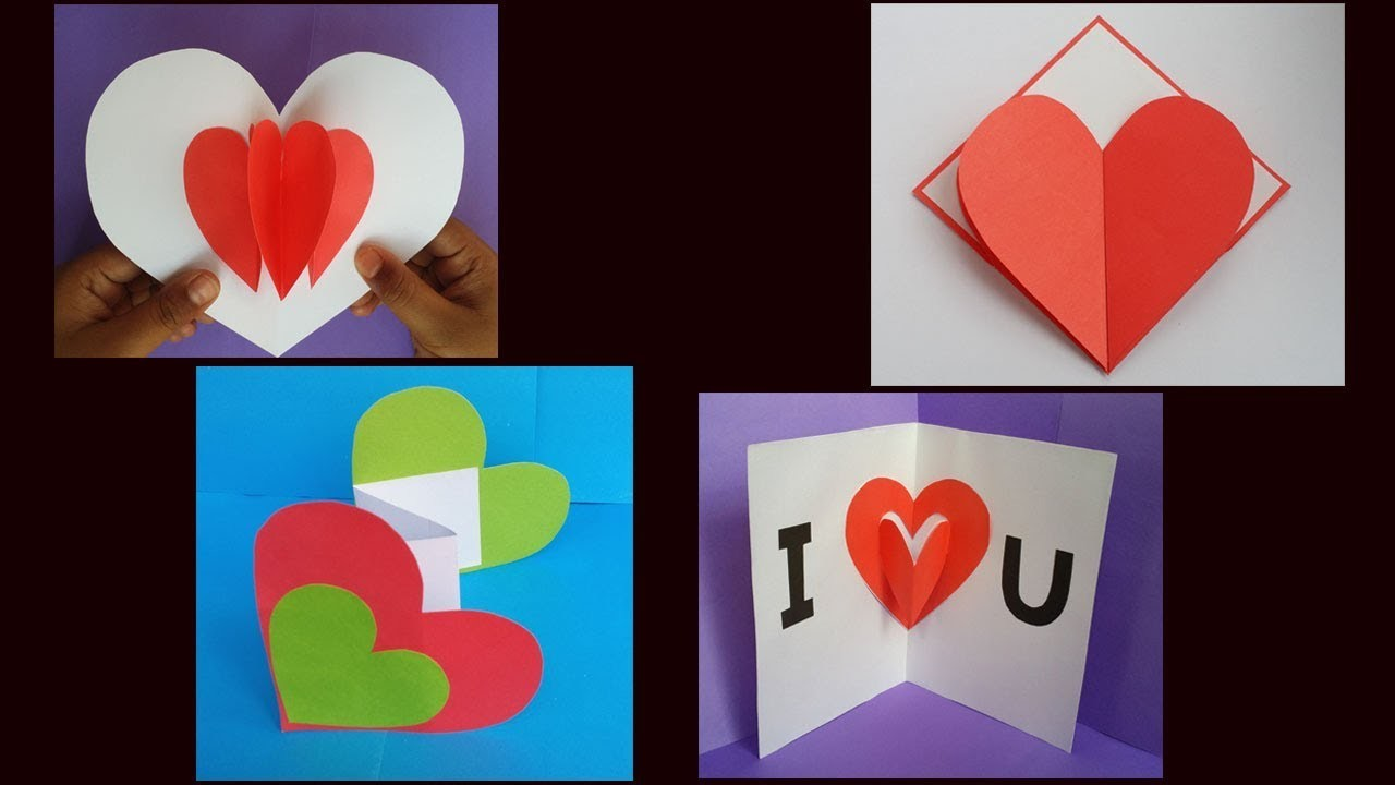 DIY: 4 Amazing Paper Card!!! How to Make Paper Card for valentine day.Greeting. Birthday!!!