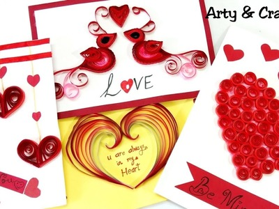 DIY 4 Easy Valentine Card.Quilling Heart.How to make Valentine Greeting Card.Handmade Card Making