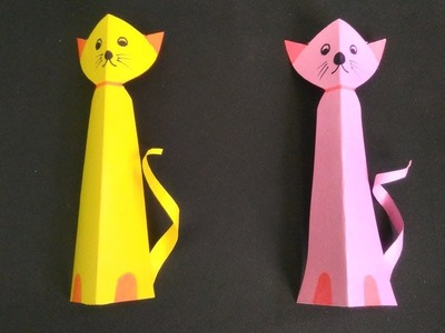 Easy paper craft.how to make a cat.step by step
