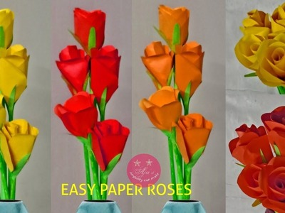 Easy paper roses with normal colour paper | How to make roses using circles
