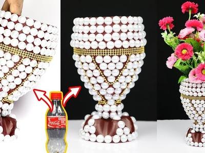 How to Make A Flower Vase At Home || Plastic Bottle Flower Vase || Home decor ideas