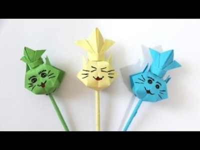 How to make an Origami Cat Pencil Topper | DIY paper crafts | Easy Origami step by step Tutorial
