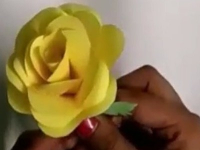 How To Make Realistic Rose Flower With Color Paper|Making Homemade Rose Flower Craft Art By Paper
