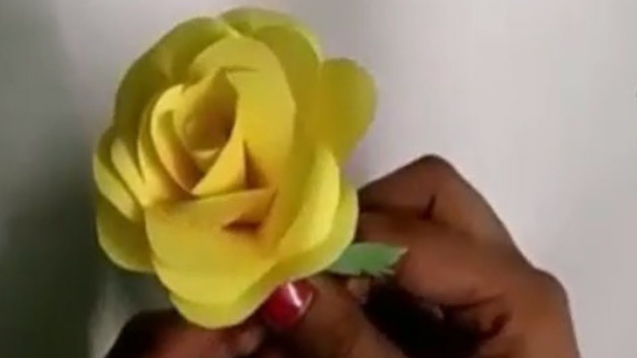 How To Make Realistic Rose Flower With Color Paper Making Homemade Rose Flower Craft Art By Paper