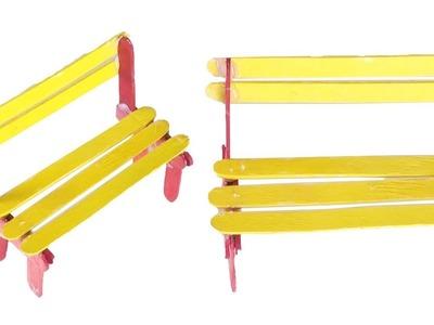 How to Make Street Bench Wi Ice Cream Sticks   Popsicle's Sticks Street Bench   Simple Craft Ideas