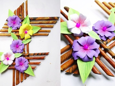 How To Make Wall hanging|| Wall hanging ideas-Newspaper Crafts-Beautiful Flower Making||Easy Crafts