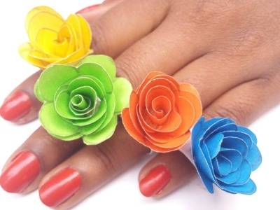 How To Meke Beautiful Rose Ring | Handmade Paper Crafts For Kids