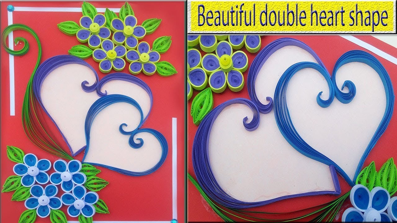 #PaperQuilling ⏭How To Make Beautiful double heart shaped ????Birthday greeting card |Indian Tradition