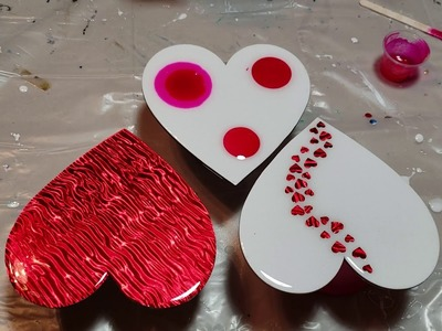 Resin Art How to Design Magnetic Canvas Hearts using Scrapbook Paper & Resin