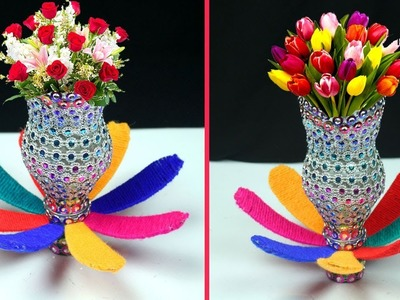 WOW!! How to Make Flower Pot with Plastic Bottle | Ways to Spruce Up a Flower vase at Home