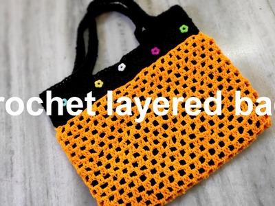 Crochet layered bag | crochet tamil | with English subtitle.