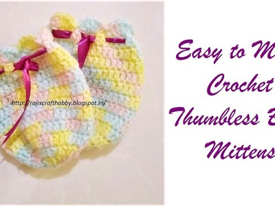 Crochet Thumbless Baby Mittens Video Tutorial