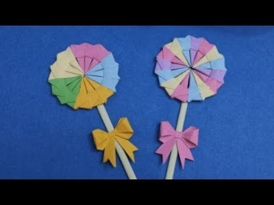 How to make a paper lollipop origami | DIY paper crafts | Easy Origami step by step Tutorial