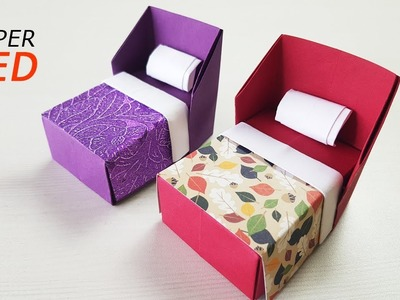 How To Make An Origami Paper Bed   Easy Paper Crafts   Paper Furniture Crafts   Paper Girl