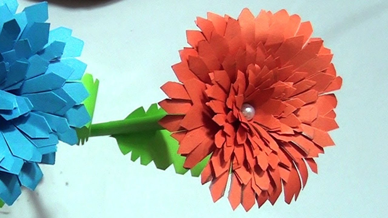How To Make Beautiful Paper Flowers At Home Paper Crafts Flowers Diy