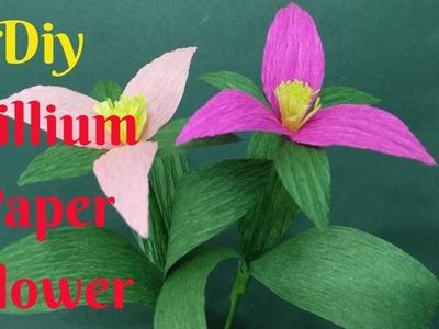 How To Make Beautiful Trillium Flower From Crepe Paper | Diy Trillium Paper Flower Making