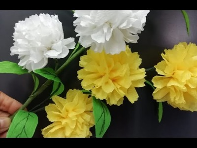 How to make Carnation flowers with tissue paper | Worlds Most Beautiful Tissue Paper Carnation Hindi