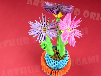 How to make flowers in a pot from paper ✿ 3D Origami