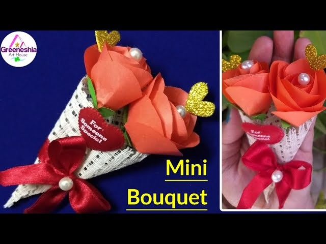 How to make paper flower bouquet tutorial easy step by step   Handmade gift for boyfriend