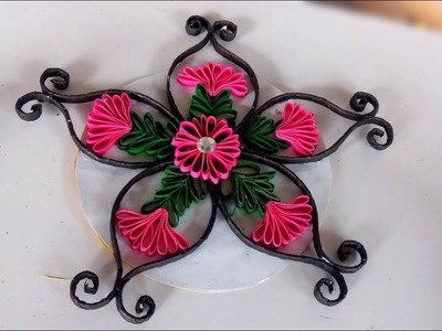 How to make paper stick design   how to make wall hanging lotus flowers   very easy hand made craft
