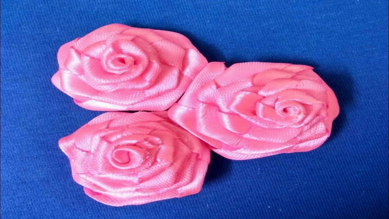 How to make ribbon flower | ribbon flower making at home | ribbon flower