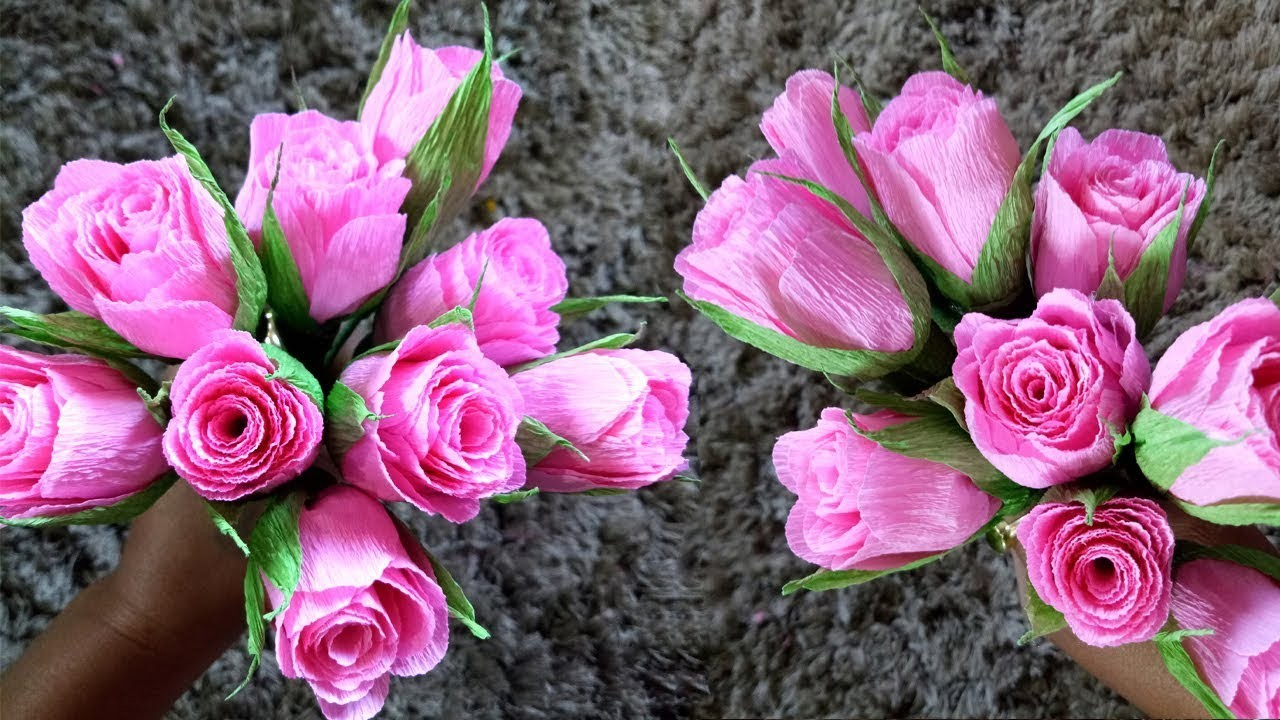 How to make Rose with Crepe Paper. Paper Flowers