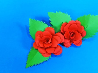 How to Make Very Easy And Simple Red Paper Rose || Flower Making of Paper || Paper Flower Tutorial