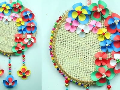 How to make wall hanging with paper easy | paper wall hanging crafts | home decor