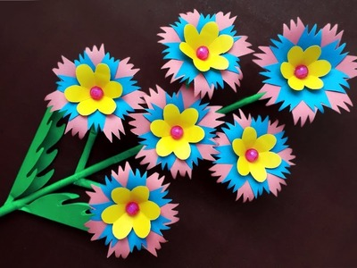 Paper Flower Stick   Making Paper Flower   How To Make Beautiful Paper Flower Stick