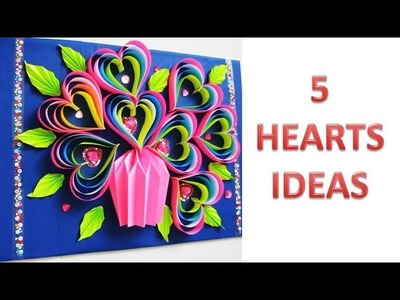 5 Wall Decoration Ideas. Heart Design Valentine's Day Room Decor Ideas. Paper Flower Wall Hanging.Я