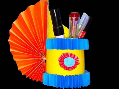 Amazing pen holder by reuse father box  | Color paper pencil holder diy | Pen stand orgami