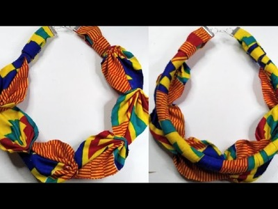 Diy flower necklace made with African fabric and poly rope cord