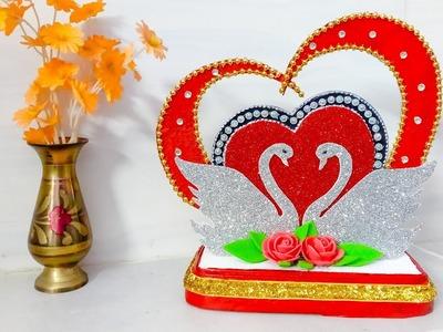 DIY Heart Showpiece Making At Home | Valentines Day Gift ideas 2019 | DIY CraftsLane
