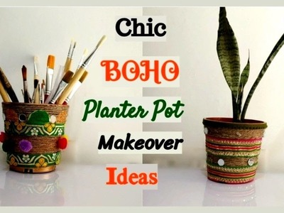 #diy #oldplanter #recycle Bohemian Style planter pot makeover ||How to make an old pot look stylish