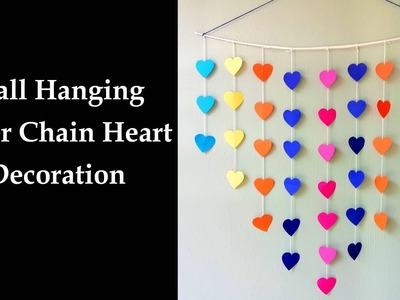 DIY Wall Hanging Paper Chain Heart Decoration - Easy Wall Decoration Ideas - Simple Paper craft