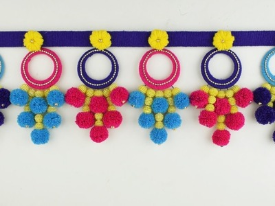 DIY Woolen Wall Hanging Toran Out of Waste Wool and Bangles.Home Decor Idea. Best Out Of Waste Wool