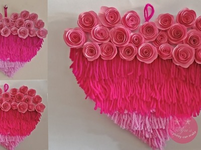 EASY DIY LAYERED HEART WALL HANGING WITH WOOL AND PAPER | PAPER WALL DECOR | BEST OF WASTE