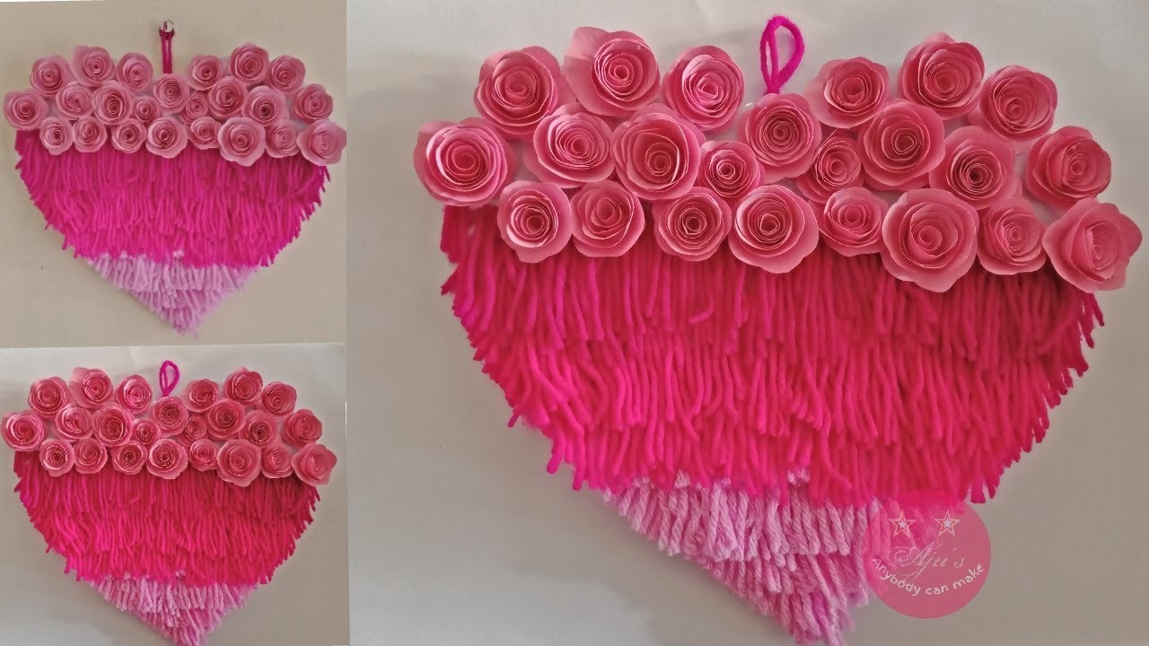 EASY DIY LAYERED HEART WALL HANGING WITH WOOL AND PAPER   PAPER WALL DECOR   BEST OF WASTE