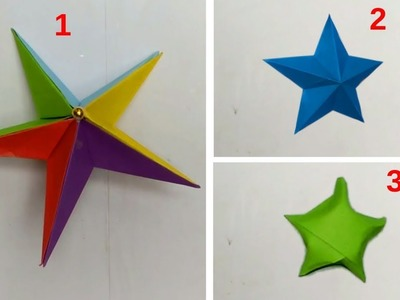 How to Make Simple & Easy 3D Paper Star | Origami Kagojer Hater Kaj | DIY Art And Craft