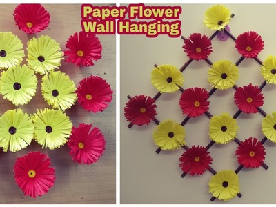 Paper Flower Wall Hanging   DIY   Paper Craft   Wall Decoration Ideas
